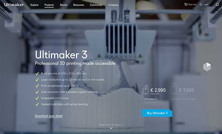 Ultimaker 3 website