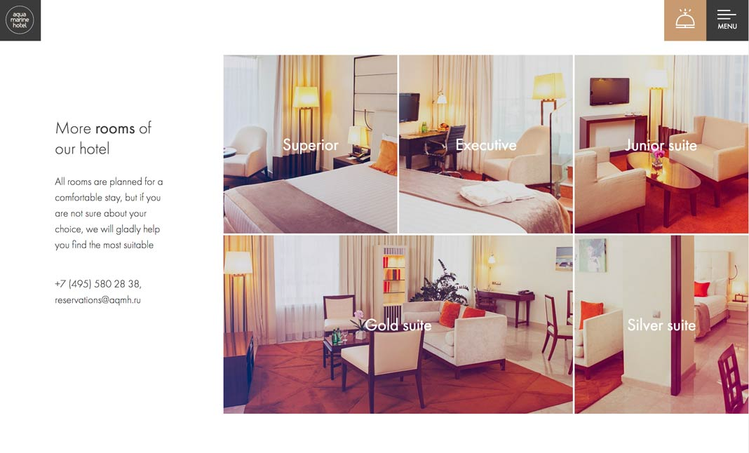 Aquamarine hotel website
