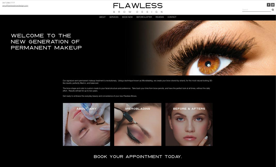 Flawless Brow Design website