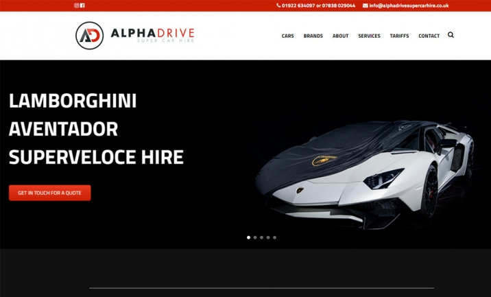 Alphadrive Super Car Hire website