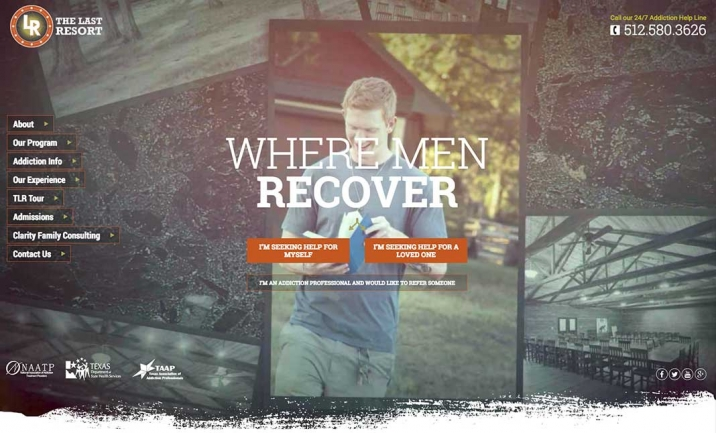The Last Resort Recovery Center website