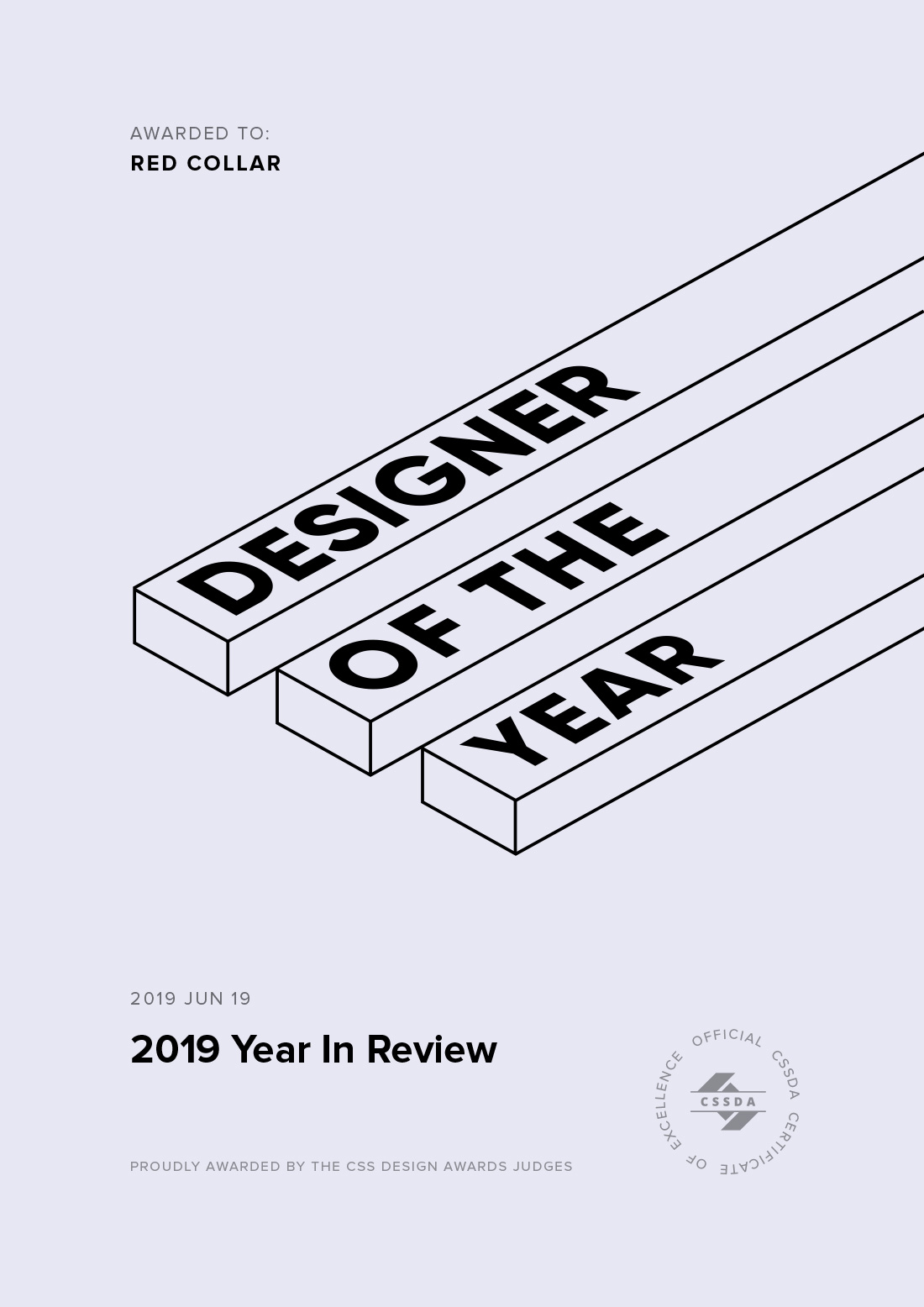 Designer of the Year Award Certificate