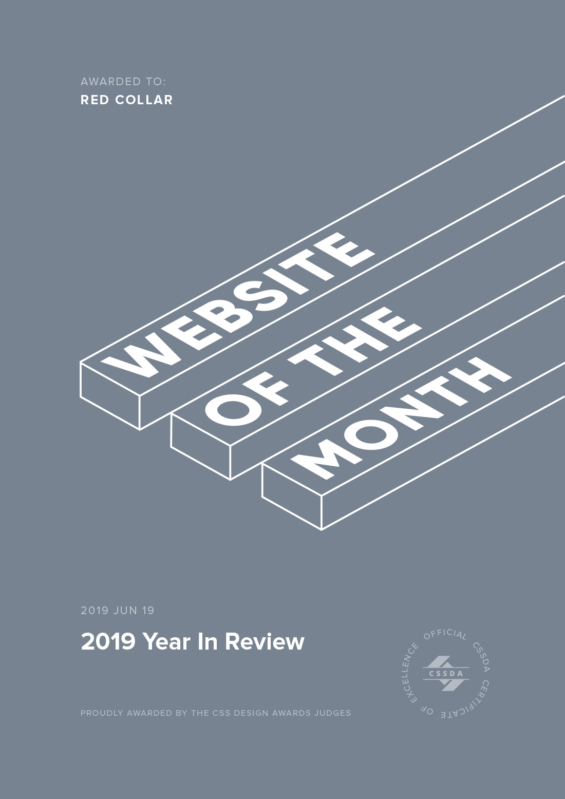 Website of the Month Award Certificate