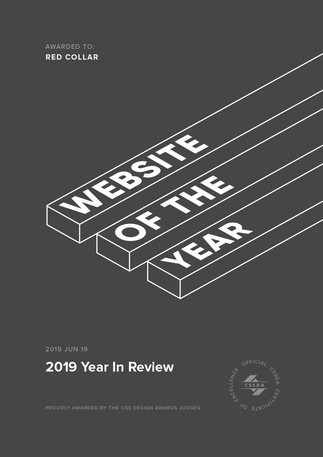 Website of the Year Award Certificate