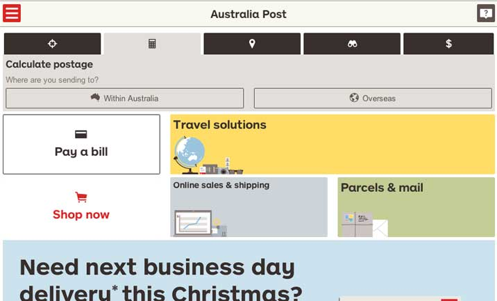 Australia Post Mobile website