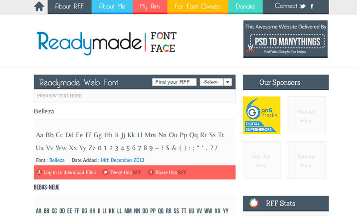 Readymade Font Face website