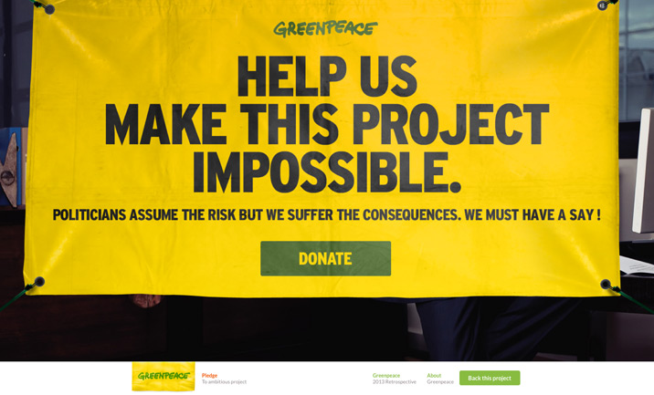 Greenpeace vs Killstarter website