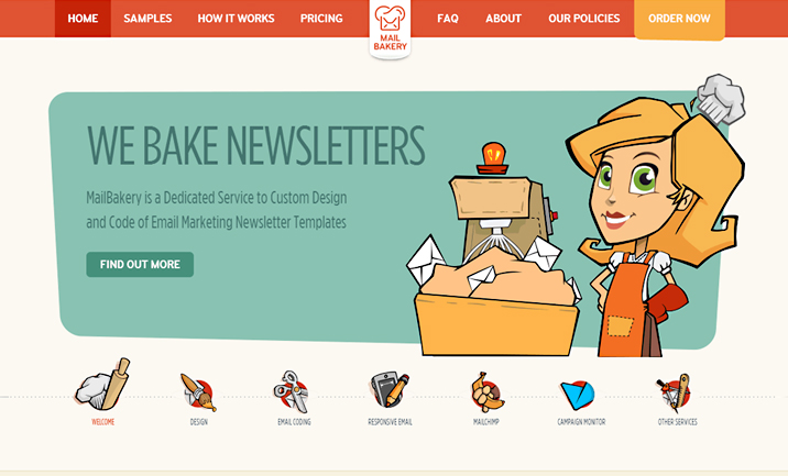 Mailbakery website
