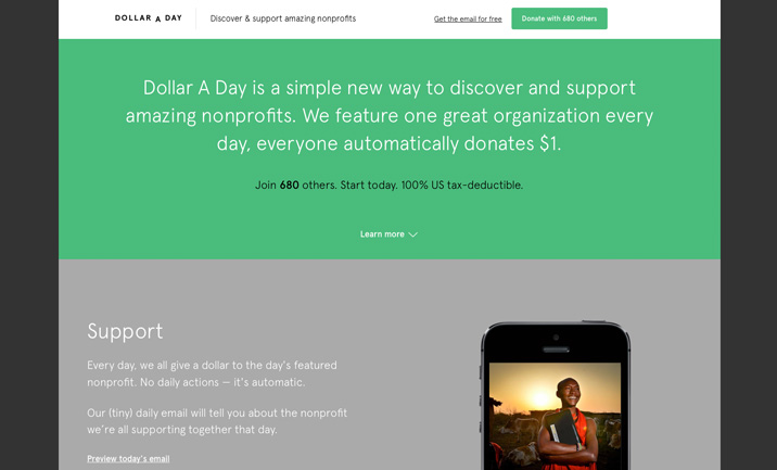 Dollar a Day website
