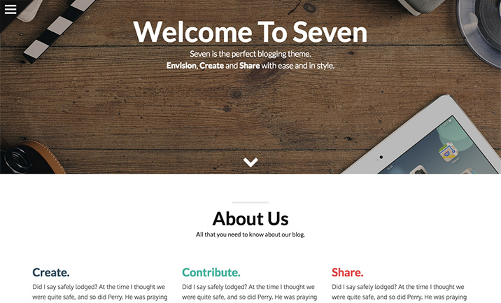 Seven - Stylish WordPress Theme website