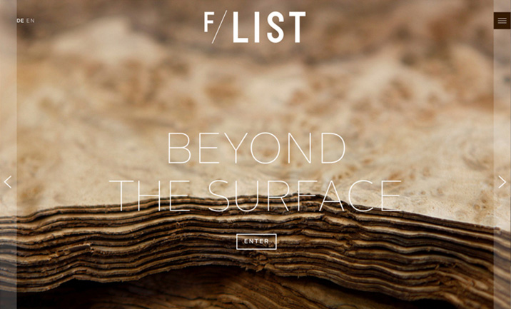 F/LIST - Beyond the surface website