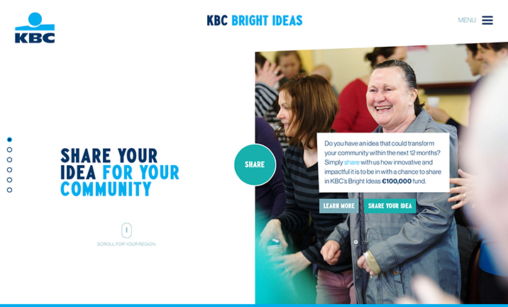 KBC Bright Ideas website