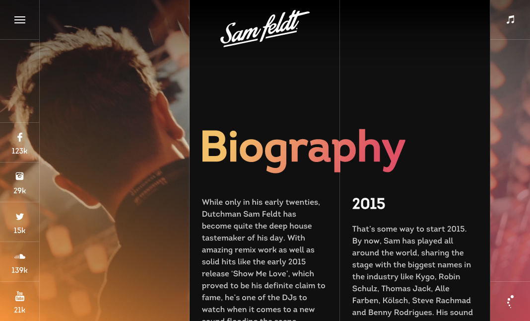 Sam Feldt website