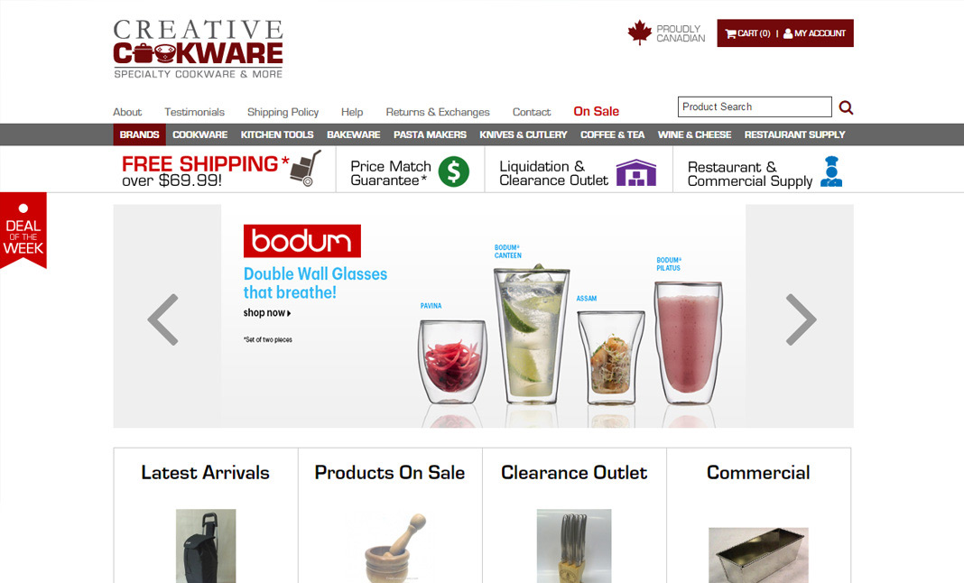 Creative Cookware website