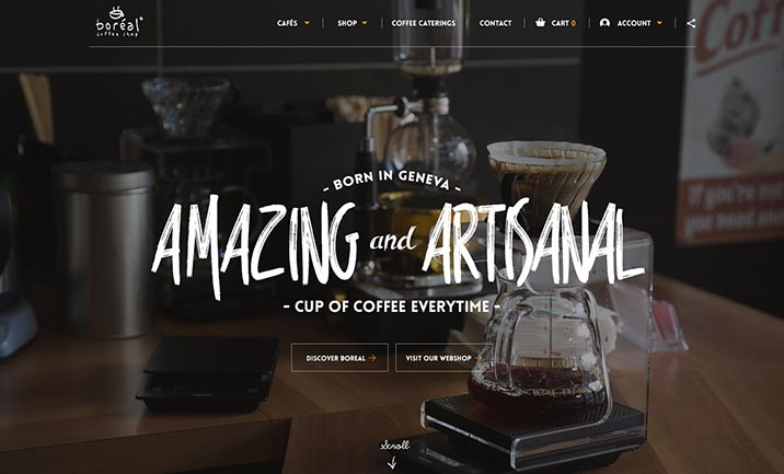 Boreal Coffee of Switzerland website