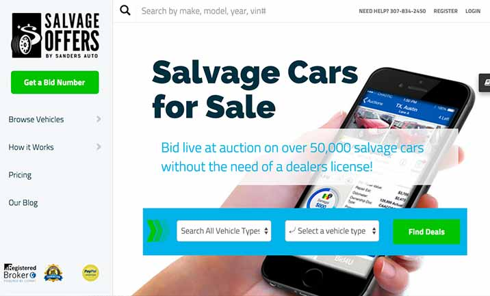 Salvage Offers Auto Auctions website
