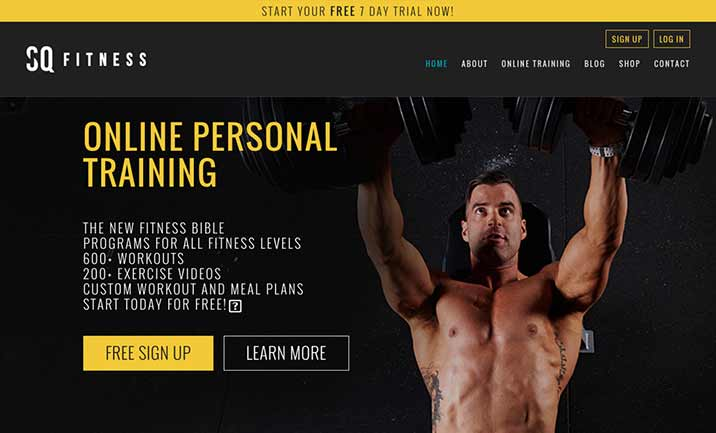 SQ Fitness website