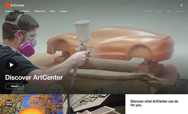 ArtCenter College of Design website