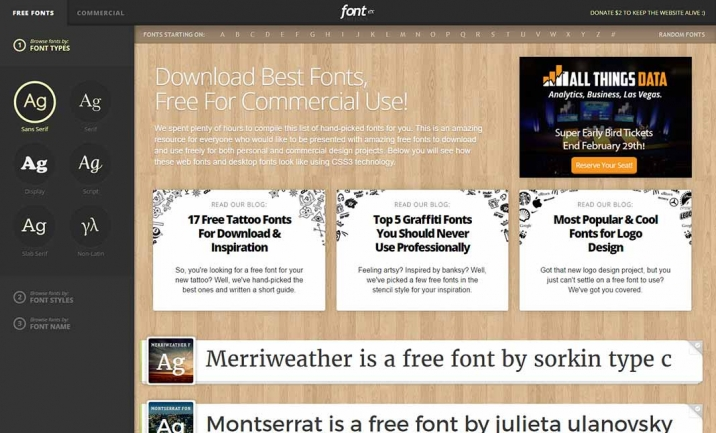 FontEx® Free Fonts website