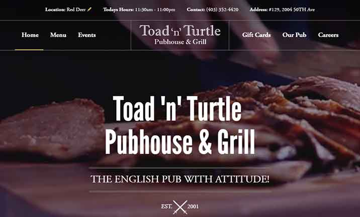 Toad 'n' Turtle Pubhouse & Grill website