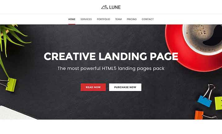 LUNE HTML5 Landing Pages Pack website