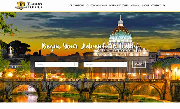 Tenon Tours website