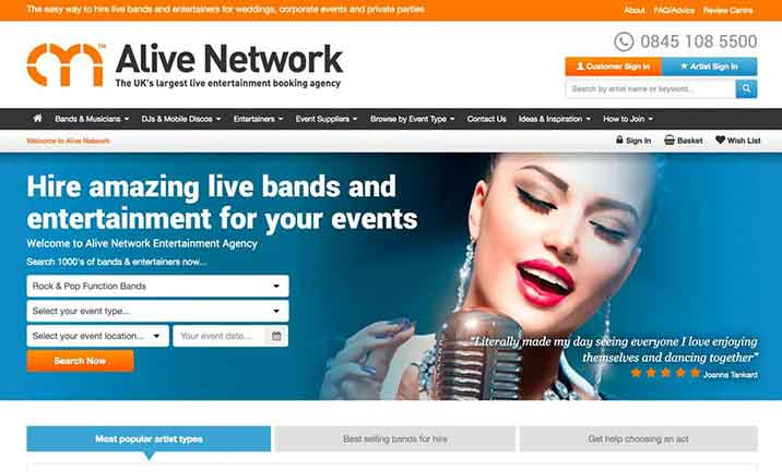 Alive Network website