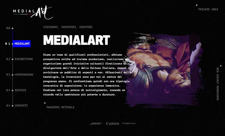 Medialart - Immersive Exhibition website