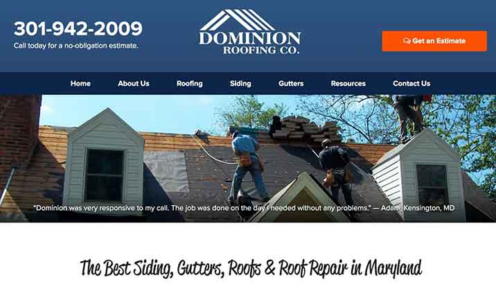 Dominion Roofing Co. website