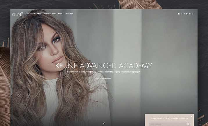 Keune Advanced Academy website
