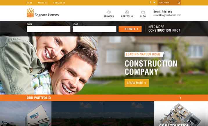Sognare Homes website