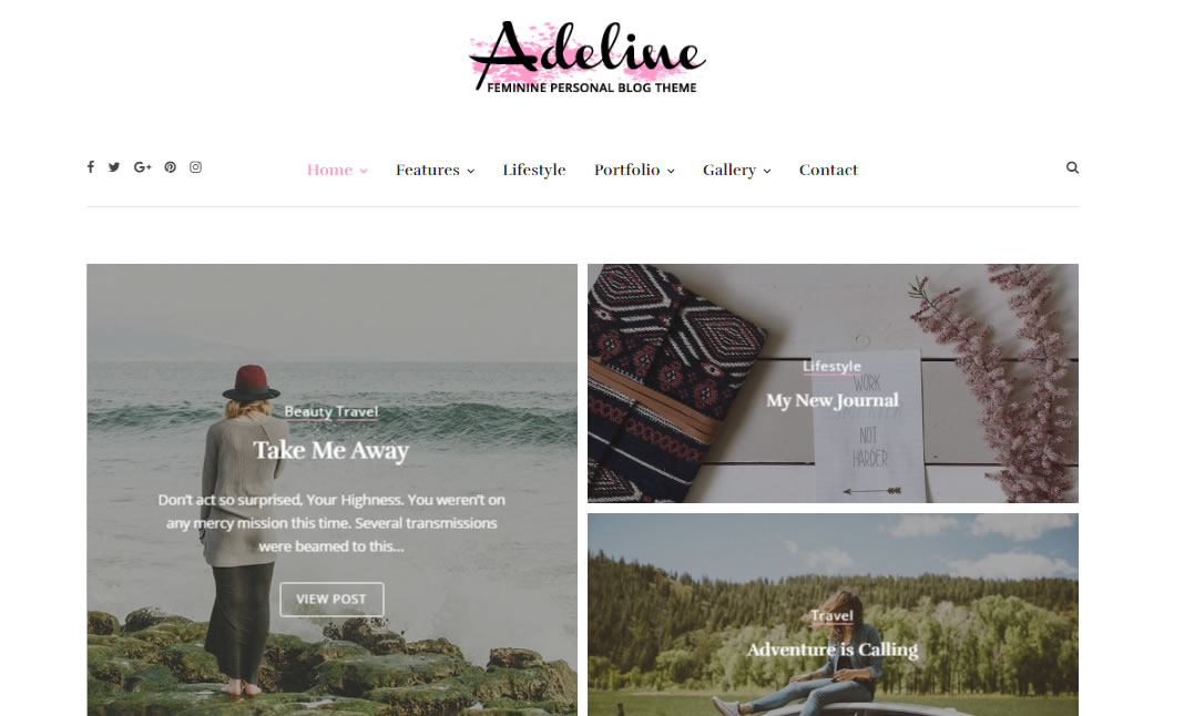 Adeline Feminine WordPress Theme website