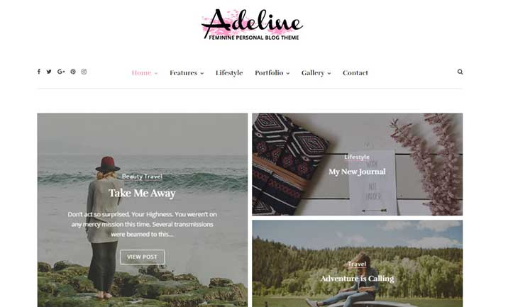Adeline Feminine WordPress Theme