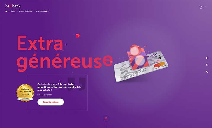 Beobank Mastercard Extra World website