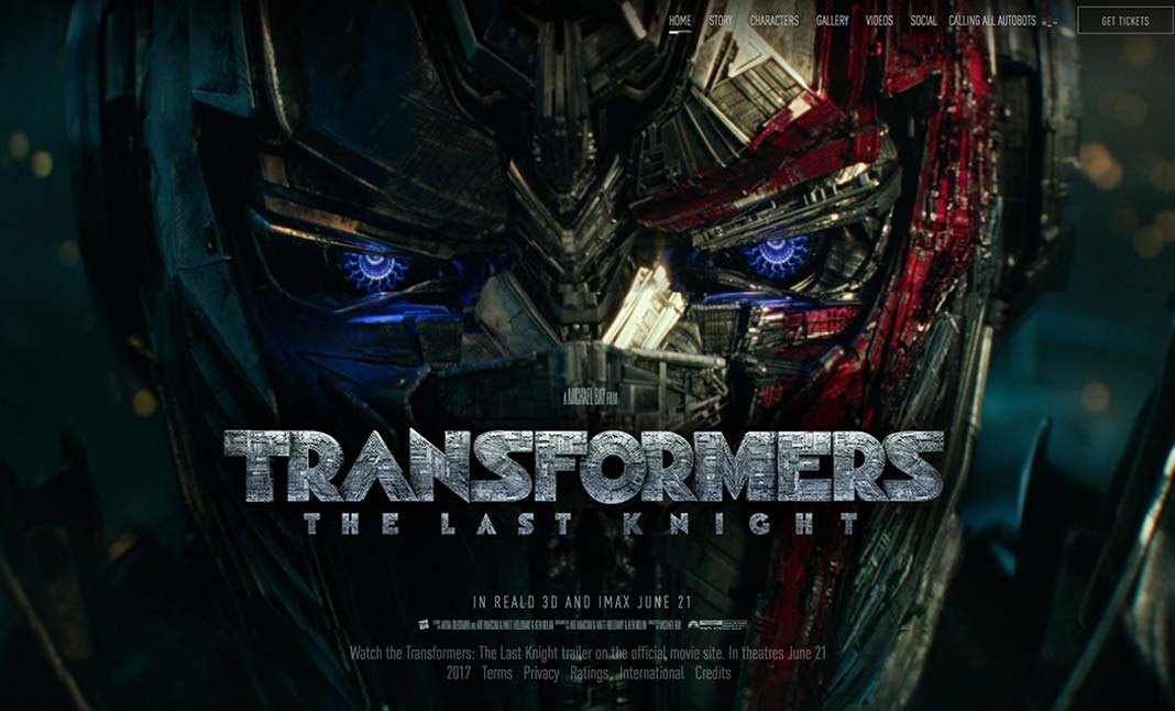 Transformers: The Last Knight website