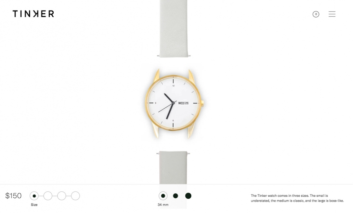 Tinker Watches website