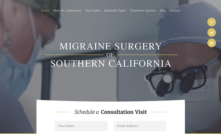 Migraine Surgery of Southern California website