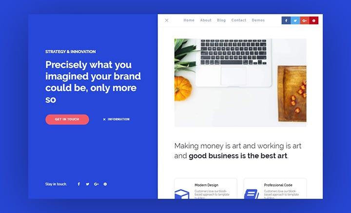 Deft One Page WordPress Theme website