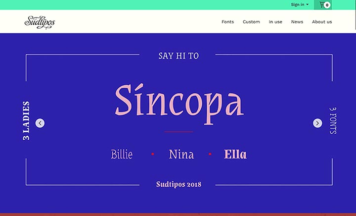 Sudtipos Type Foundry website