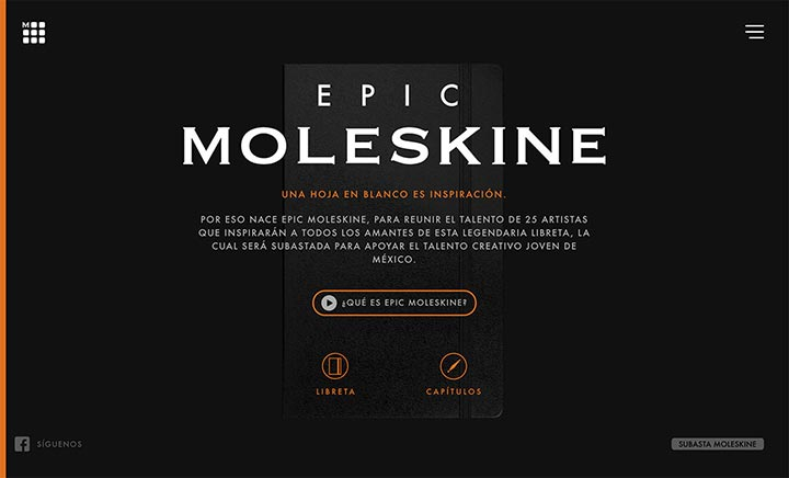 Epic Moleskine website