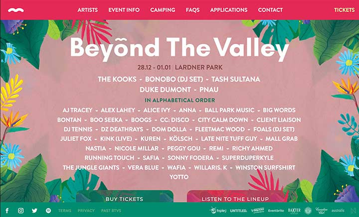 Beyond The Valley 2019 website