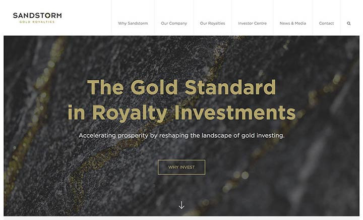 Sandstorm Gold Royalities website