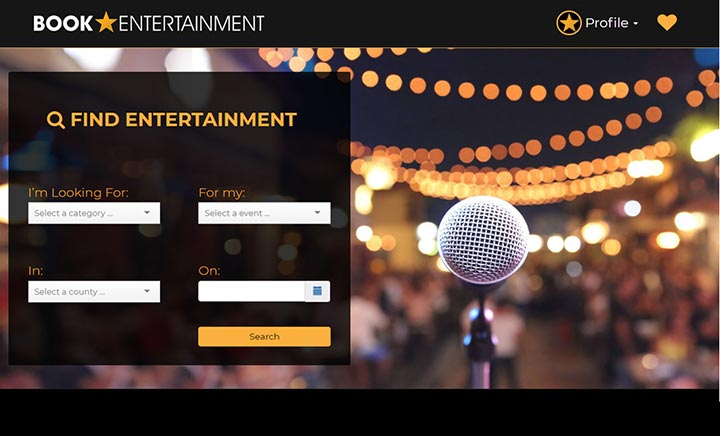 Book Entertainment UK website