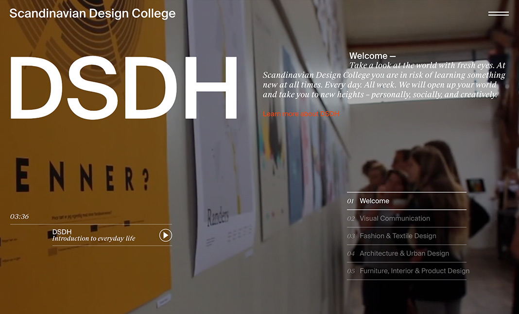 Scandinavian Design College website