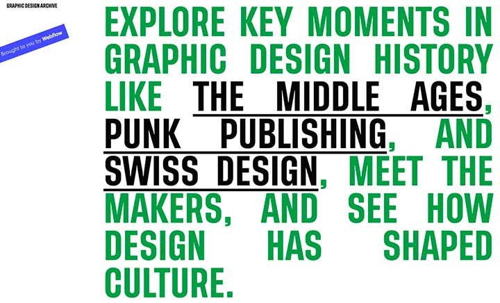 The Graphic Design Archive website