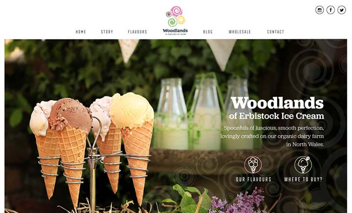 Woodlands Ice Cream website