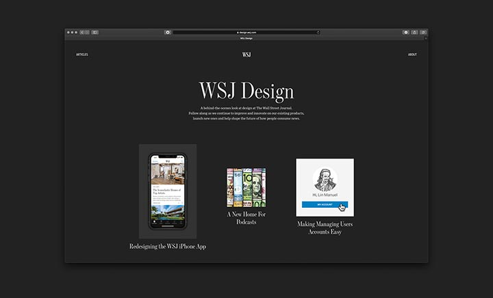 WSJ Design website