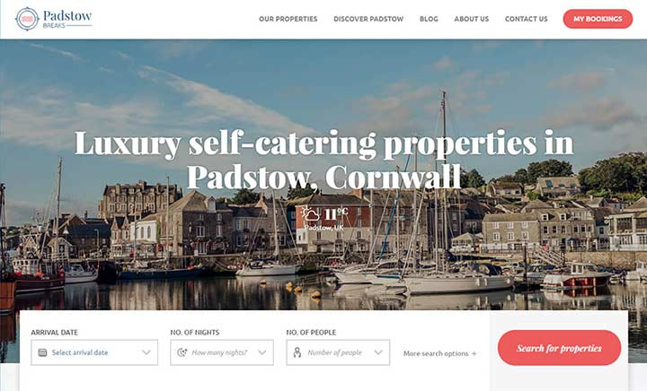 Padstow Breaks website
