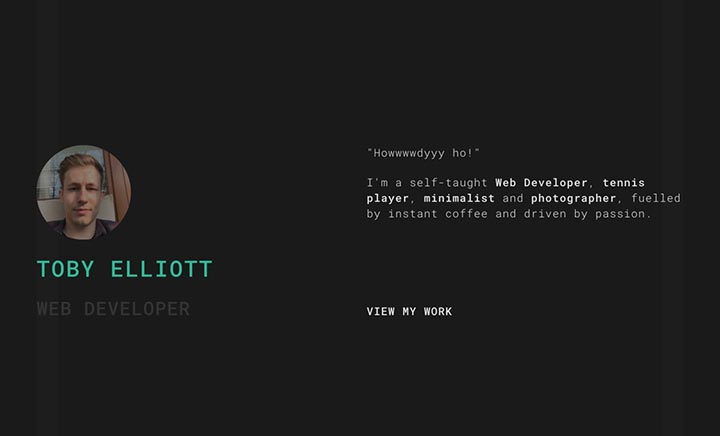 Toby Elliott - Web Developer website