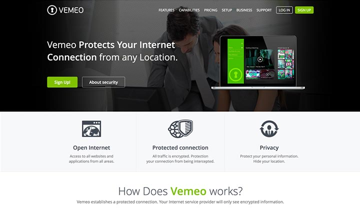 Vemeo Internet Security website
